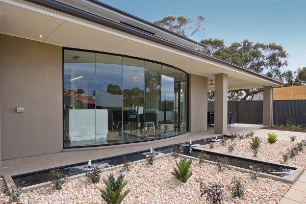 Bellevue external backyard meals curved window 012 Split Level Double Storey Custom Home  Builder  Adelaide  South Australia