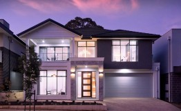 Monte Carlo night front facade edit Monte Carlo Lift Split Level Double Storey Custom Home Builder Adelaide South Australia